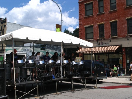 Pittsburgh Obama Steel Drums play this summer for a neighborhood street festival.