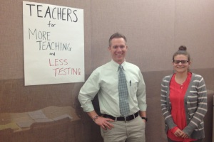 Pittsburgh Allderdice teachers organized their own literature table about learning and testing