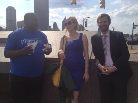 City Council members Natalia Rudiak (center) and Dan Gilman (right)