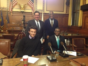 Mayor Peduto, Education chief Dr. Porter, and two of the amazing young people on the Task Force for Education.