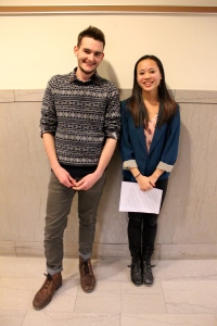 National Arts Honors Society CAPA chapter co-presidents, Will Grimm and Meggie Booth, at their presentation to the Pittsburgh Public School board.