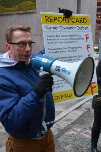 Tony Woods at one of the coldest rallies we've held (!), December 2013, outside Governor Corbett's office in downtown Pittsburgh.
