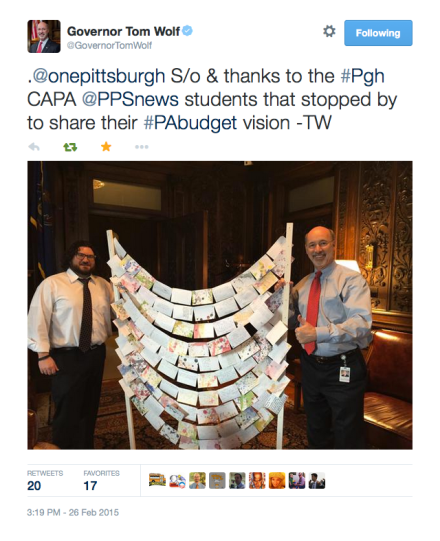 Gov.Wolf Gives Pgh Students Thumbs Up!